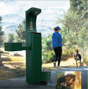Haws Outdoor Modular Bottle Filler and Drinking Fountain with optional dog bowl attachment